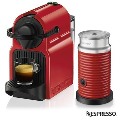 Combo Cafeteira Nespresso Inissia Rubi para Cafe Espresso + Espumador de Leite Aeroccino 3 Vermelho - A3NC40BR, 110V, 220V, Vermelho, Espresso automática, Cápsulas, 0,7 Litros, 19 Bars, 01 xícara, Café espresso, Não especificado, Não especificado, 12 meses