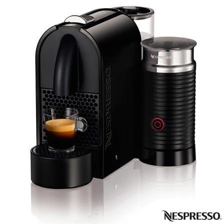 Cafeteira Nespresso Umilk Pure, Preta para Café Espresso, 110V, 220V, Preto, Espresso automática, Cápsulas, 0,8 Litros, 19 Bars, 01 xícara, Cappuccino e Latte Macchiato, Não especificado, 1200 W, 12 meses