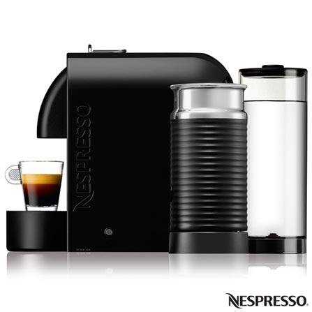 Cafeteira Nespresso Umilk Pure, Preta para Cafe Espresso, 110V, 220V, Preto, Espresso automática, Cápsulas, 0,8 Litros, 19 Bars, 01 xícara, Cappuccino e Latte Macchiato, Não especificado, 1200 W, 12 meses