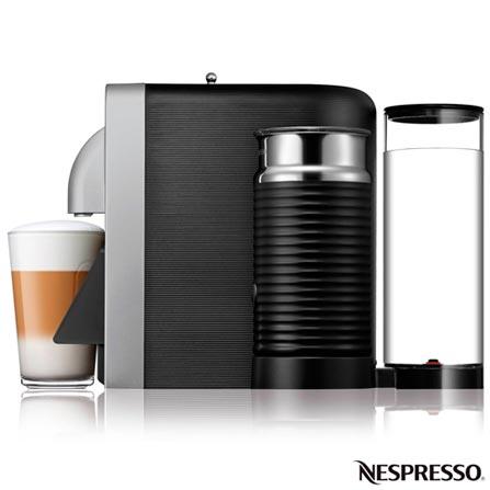 Cafeteira Nespresso Prodígio & Milk Prata para Café Espresso - D75-BR, 110V, 220V, Prata, Espresso automática, Cápsulas, 0,8 Litros, 19 Bars, 01 xícara, Ristretto, Espresso, Lungo, Cappuccinos e Lattes Macchiatos, Não especificado, Não especificado, 12 meses