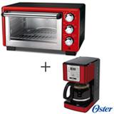 Forno Elétrico Oster Convection Cook para Tostar, Assar e Grelhar 110V + Cafeteira Oster para Café em Pó Vermelha 110V