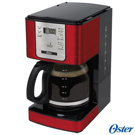 Forno Elétrico Oster Convection Cook para Tostar, Assar e Grelhar 110V + Cafeteira Oster para Café em Pó Vermelha 110V, 0, Até 60 litros