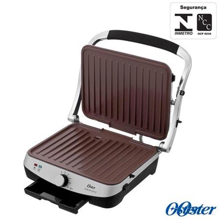 Grill Elétrico Oster Panini Bioceramic™ com Capacidade para 04 Fatias - CKSTPA4881, 110V, 220V, Prata, 04 Fatias, Grelhar, 1500 W, 12 meses