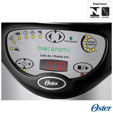 Panela de Pressão Elétrica Oster Bioceramic - CKSTPC5801, 110V, 220V, Prata e Preto, Panela de Pressão Elétrica, 6 Litros, Sim, Sim, Sim, 1000 W, 12 meses