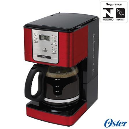 Cafeteira Oster para Café em Pó Vermelha - DC4401RD, 110V, 220V, Vermelho, Elétrica, Pó, 1,5 Litros, Não se aplica, 30 xícaras, Café, Vidro e Metal, 900 W, 12 meses