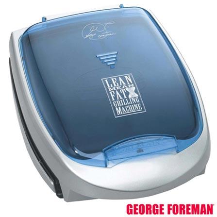 Grill Elétrico Família George Foreman com Capacidade para 4 Hambúrgueres - GBZ4I, 110V, 220V, Bivolt, Bivolt, Azul e Prata, 04 Hambúrgueres, Grelhar, Não especificado