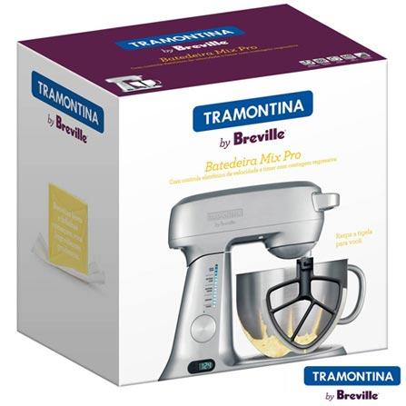 Batedeira Planetária Tramontina By Breville Mix Pro com Velocidades Variáveis e 03 Batedores - 6901502, 110V, 220V, Prata, 4,7 Litros, Variáveis, 840 W, 12 meses