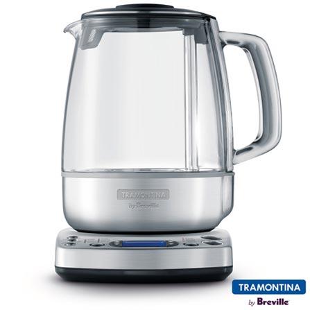Bule Elétrico Gourmet Tea Tramontina com Capacidade de 1,5L - 69110011, 110V, 220V, Inox, 1,5 Litros, Vidro e Inox, 110V - 1500 W e 220V - 1680 W