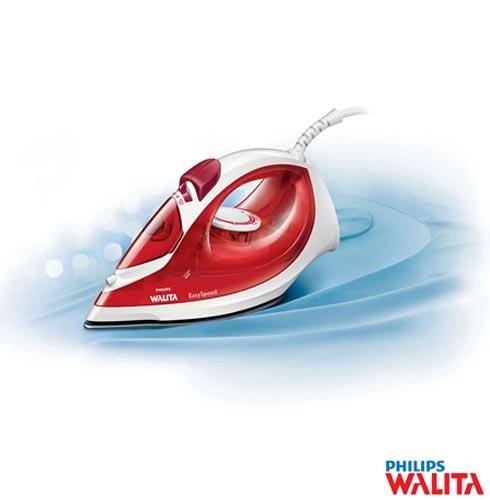 Ferro a Vapor Philips Walita Easyspeed com 05 Niveis de Temperatura e Funcao Corta Pingos - RI1028, 110V, 220V, Vermelho e Branco, Vapor, 05, Sim, Antiaderente e Cerâmica, 110V - 1400 W e 220V - 2000 W, 24 meses