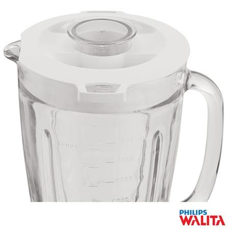 Liquidificador Philips Walita Pro Blend 6 com 05 Velocidades e Jarra de vidro com 1,5 Litros, Branco e Dourado - RI2136, 110V, 220V, Branco e Dourado, Vidro, 5, 1,5 Litros, Sim, 800 W, Nacional, 24 meses