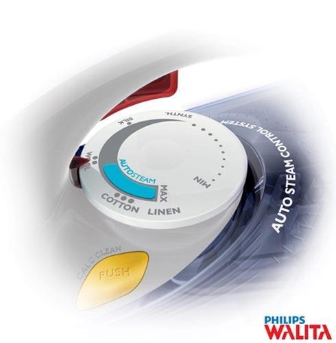 Ferro a Vapor Philips Walita Azur Performer com Função Autolimpeza e Ajustes Automáticos - RI3802, 110V, 220V, Branco e Azul, Vapor, Não especificado, Sim, Plástico e Antiaderente, 1470 W, 24 meses