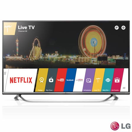 """Smart TV 4K LG 65"""" com webOS 2.0, Smart Share, Smart Sound, Controle Smart Magic e Wi-Fi - 65UF7700, Bivolt, Bivolt, Não se aplica, Não, 120 Hz, 12 meses, 4K / UHD, Sim, De 50'' a 65'', 65'', LED"""