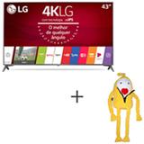 Smart TV 4K LG LED 43 com webOS 3.5, Ultra Surround e Wi-Fi - 43UJ6565 + Boneco Kenny em Plush Amarelo - Bodobo