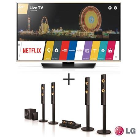 "Smart TV LED LG Full HD 49"" com Smart Share - 49LF6350 + Home Theater LG com Blu-ray 3D, 5.1 Canais - BH7540TW, 0"
