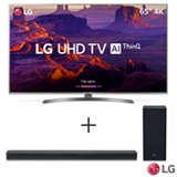 Smart TV 4K LG LED 65' com HDR Ativo, WebOS 4.0, Controle Smart Magic e Wi-Fi + Soundbar LG com 2.1 Canais e 360W