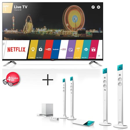 Smart TV 3D LED LG 70 Full HD 4 Óculos 3D - 70LB7200 + Home Theater SONY Blu-Ray 3D com 5.1 canais, Wi-Fi - BDV-N9100WL, 0