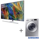 Smart TV Samsung QLED 4K 65 - QN65Q7FAMGXZD + Lava & Seca 10,2 Kg 220V Samsung - WD10M44530S