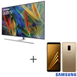 Smart TV Samsung QLED 4K 65, Connect Share - QN65Q7FAMGXZD + Galaxy A8 Dourado, 5,6, 4G, 64GB e 16MP - SM-A530FZDKZTO