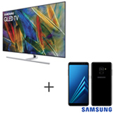 Smart TV Samsung QLED 4K 65, Connect Share - QN65Q7FAMGXZD + Galaxy A8 Preto, 5,6, 4G, 64GB e 16MP - SM-A530FZKKZTO