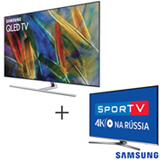 Smart TV Samsung QLED 4K 65, Connect Share - QN65Q7FAMGXZD + Smart TV 4K Samsung LED 49, HDR Premium - UN49KU6450GXZD