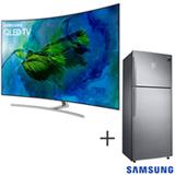 Smart TV Samsung QLED 4K 65 QN65Q8CAMGXZD + Refrigerador de 02 Portas Frost Free, 453 Litros Inox 220V - RT46K6361SL