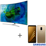 Smart TV Samsung QLED 4K 65, Connect Share - QN65Q8CAMGXZD + Galaxy A8 Dourado, 5,6, 4G, 64GB e 16MP - SM-A530FZDKZTO