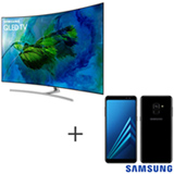 Smart TV Samsung QLED 4K 65, Connect Share - QN65Q8CAMGXZD + Galaxy A8 Preto, 5,6, 4G, 64GB e 16MP - SM-A530FZKKZTO