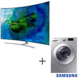 Smart TV QLED 4K 75, Modo Jogo, Connect Share - QN75Q8CAMGXZD + Lava & Seca 10,2 Kg Samsung Silver 110V - WD10M44530S