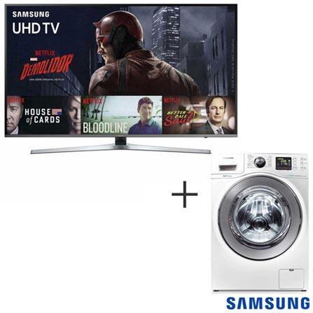 Smart TV 4K Samsung LED 49 120 Hz e Wi - Fi - UN49KU6400GXZD + Lava & Seca 10,1 Kg Samsung Branca 110V - WD106UHSAWQ