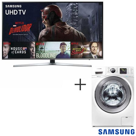 Smart TV 4K Samsung LED 49 120 Hz e Wi - Fi - UN49KU6400GXZD + Lava & Seca 10,1 Kg Samsung Branca 220V - WD106UHSAWQ