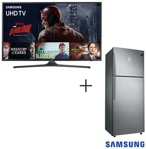 Smart TV UHD 4K Samsung LED 60 Wi - Fi - UN60KU6000GXZD + Refrigerador 02 Portas Samsung 453 L. Inox 110V - RT46K6361SL
