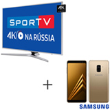 Smart TV 4K Samsung LED 65, Connect Share - UN65MU6400GXZD + Galaxy A8 Dourado, 5,6, 4G, 64GB e 16MP - SM-A530FZDKZTO