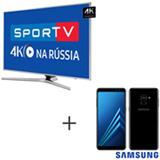 Smart TV 4K Samsung LED 65, Connect Share - UN65MU6400GXZD + Galaxy A8 Preto, 5,6, 4G, 64GB e 16MP - SM-A530FZKKZTO
