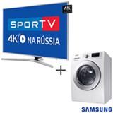 Smart TV 4K LED 65, Processador Quad Core, Wi-Fi UN65MU6400GXZD + Lava & Seca 10,2 Kg Samsung Branca 220V WD10M44530W