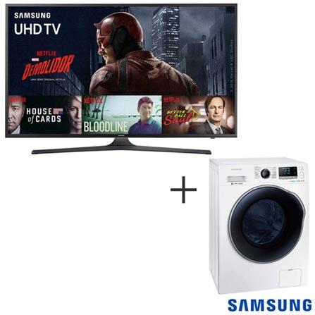 Smart TV 4K Samsung LED 70 120 Hz e Wi - Fi - UN70KU6000GXZD + Lava & Seca 10,2 Kg 220V - WD10J6410AW