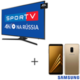 Smart TV 4K Samsung LED 75 com HDR Premium - UN75MU6100GXZD + Galaxy A8 Dourado, 5,6, 4G, 64GB e 16MP - SM-A530FZDKZTO