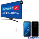 Smart TV 4K Samsung LED 75 com HDR Premium - UN75MU6100GXZD + Galaxy A8 Preto, 5,6, 4G, 64GB e 16MP - SM-A530FZKKZTO