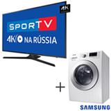 Smart TV 4K Samsung LED 75 - UN75MU6100GXZD + Lava & Seca 10,2 Kg Samsung Eco Bubble Branca 110V - WD10M44530W
