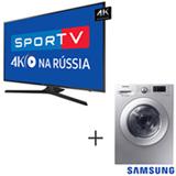 Smart TV 4K Samsung LED 75, HDR Premium e Wi-Fi UN75MU6100GXZD + Lava & Seca 10,2 Kg Samsung Silver 110V WD10M44530S