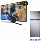 Smart TV 4K Samsung LED 75 com HDR Premium e Wi-Fi + Refrigerador de 02 Portas Samsung Frost Free 453L Inox 110V