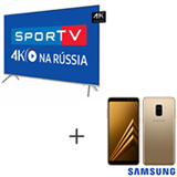 Smart TV 4K Samsung LED 75 - UN75MU7000GXZD + Galaxy A8 Dourado, 5,6, 4G, 64GB e 16MP - SM-A530FZDKZTO