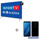 Smart TV 4K Samsung LED 75 - UN75MU7000GXZD + Galaxy A8 Preto, 5,6, 4G, 64GB e 16MP - SM-A530FZKKZTO