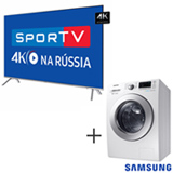 Smart TV 4K Samsung LED 75 - UN75MU7000GXZD + Lava & Seca 10,2 Kg Samsung Eco Bubble Branca 110V - WD10M44530W