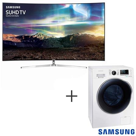Smart TV 4K Samsung Curva LED 78, 240 Hz - UN78KS9000GXZD + Lava & Seca 10,2 Kg Crystal Blue, 110V Branca - WD10J6410AW
