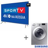 Smart TV 4K LED 82, HDR1000, Smart Tizen e Wi-Fi UN82MU7000GXZD + Lava & Seca 10,2 Kg Samsung Silver 110V WD10M44530S