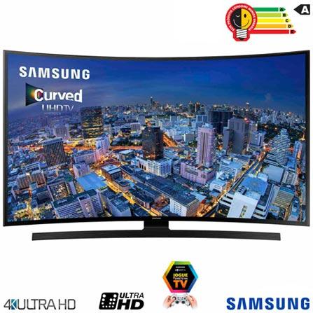 Smart TV 4K Samsung Curva LED 48 com Wi-Fi - UN48JU6700GXZD, Bivolt, Bivolt, Preto, Não, 12 meses, 4K / UHD, Sim, De 40'' a 49'', 48'', LED