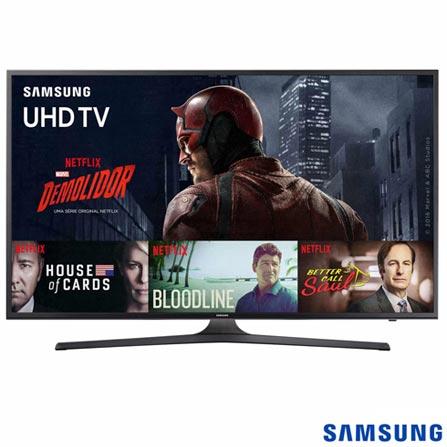 "Smart TV 4K Samsung LED 55"" com Processador Quad Core, 120 Hz Motion Rate e Wi-Fi - UN55KU6000GXZD, Bivolt, Bivolt, Não se aplica, Não, 60Hz (Motion Rate 120Hz), 12 meses, 4K / UHD, Sim, De 50'' a 65'', 55'', LED"