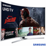 "Smart TV 4K Samsung Curva LED 55"" com HDR Premium, 120 Hz Motion Rate e Wi-Fi - UN55KU6500GXZD"
