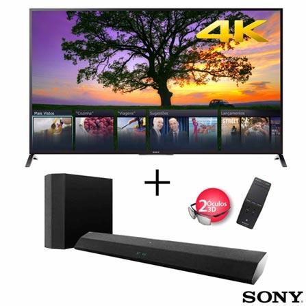 Smart TV 4K LED 3D Sony 70 Wi-fi integrado + Soundbar Sony com 3D, 2.1 Canais e 175 W de Potencia, 0