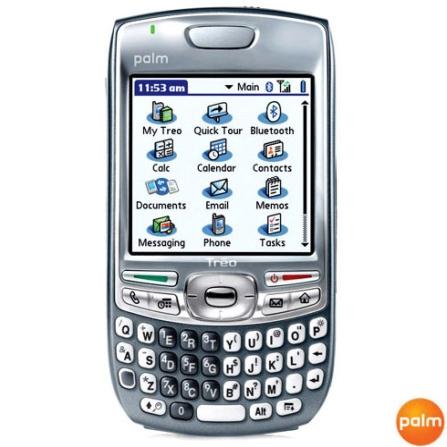 Celular GSM Smartphone Treo 680 com Intel PXA270, 64MB de Memória Flash, Bluetooth, Câmera VGA e Cartão SD 1Gb - Palm -, Bivolt, Bivolt, Cinza, 0, False, 1, N, False, False, False, False, False, False, I, 12 meses, Micro Chip